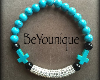 Turquoise beaded bracelet with crosses and rhinestone