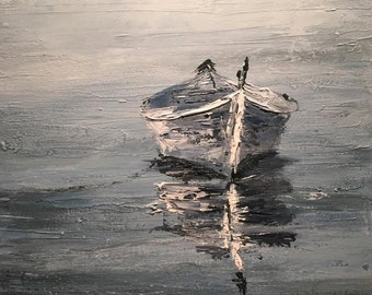 """Lone Boat QUALITY GICLEE PRINT on fine art paper 14"""" x 18"""""""