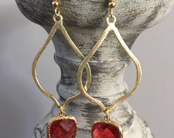 Gold Earrings With Red Bezeled Stone    FREE SHIPPING