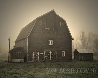 Historic Barn in the fog - photo