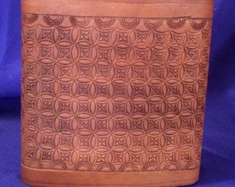 Tooled Leather Covered Flask