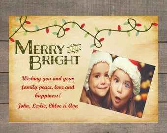 Christmas Photo Card, Merry and Bright Christmas Card, Rustic Holiday Card, Holiday Photo Card, Custom Holiday Greeting Card