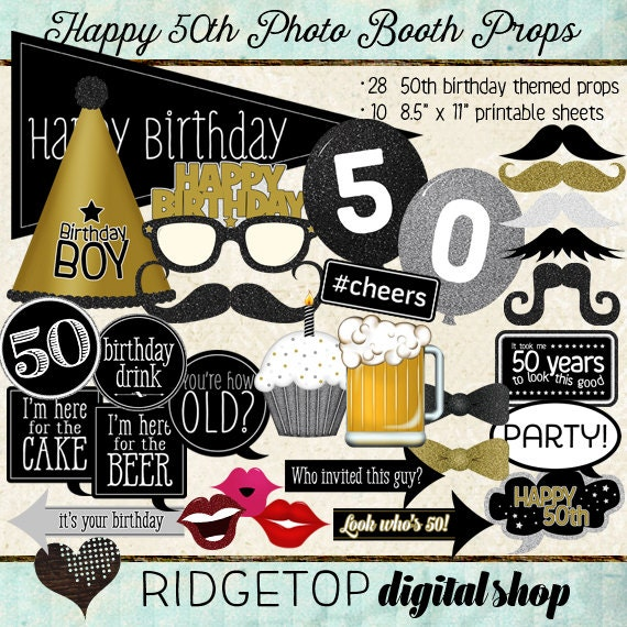 Photo Booth Props HAPPY 50TH BIRTHDAY Printable Sheets