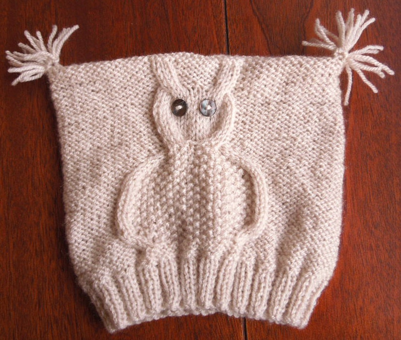 Knitting PATTERN Owl Hat Easy Project Instant Download
