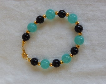 Bacelet Blue & Black Glass beads
