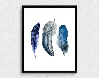 SALE -  Set Of Feathers, Navy Blue Grey, Blue Ombre, Native Feathers, Nature Illustration, Abstract, Home Room Decoration, Dorm Office