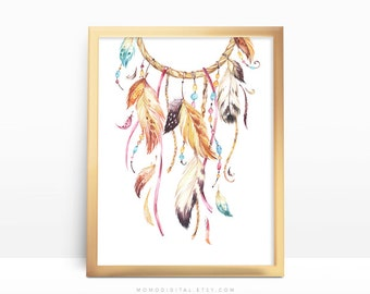 SALE -  Ancient Dreamcatcher, Watercolor Illustration, Handpainted Drawing, Native Feathers, Baby Nursery, Colorful Art Poster Print