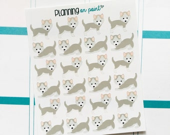 Gray Husky Puppy Dog Planner Stickers!