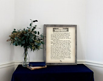 THE SECRET GARDEN -Book Page Wall Art- Book Lovers Large Wall Poster- Great For Home Kids Decor