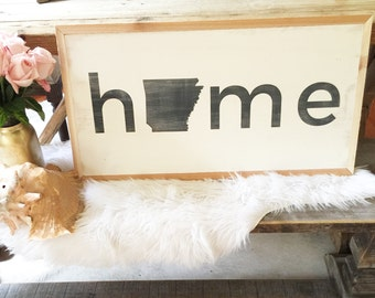 1x2 HOME Hand Painted Wood Sign - With your state!