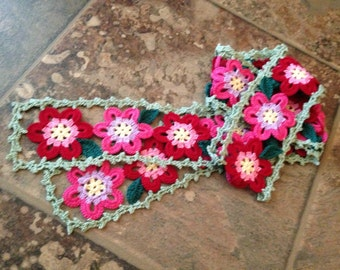 skinny stole or belt flower motif original design handmade crochet lace