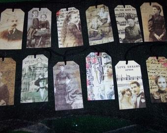 TWELVE Vintage Victorian Music Hang / Gift Tags