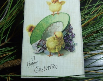 Vintage Easter Hang Tags Spring Gift Tags Chick Bonnet