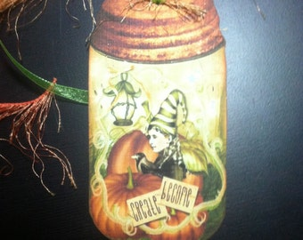FOUR Large Vintage Primitive Harvest Fairy Firefly Magic Mason Jar Hang Tags / Gift Tags
