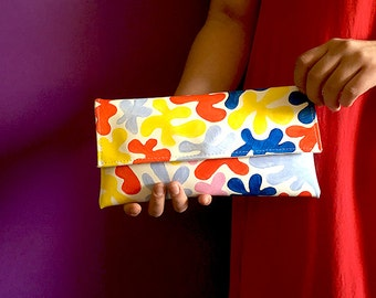 Elegant clutch, evening purse, medium size clutch, chic bag, abstract art purse, multicolored hand painted handbag, Matisse pattern bag