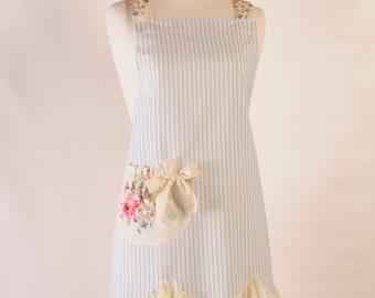 blue stripe and floral apron. pretty apron. vintage floral apron., hostess apron.