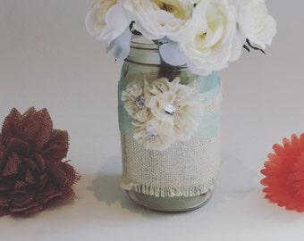 Decorated Mason Jar, Burlap, Quart Mason Jar, Mason Jar Vase, Rustic Decor, Wedding Centerpiece