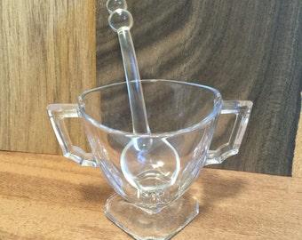 Art Deco Sugar Bowl and Spoon