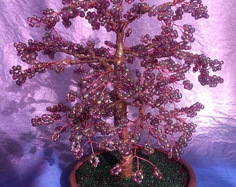 Wire and seed bead tree sculpture
