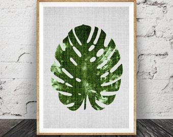 Monstera Leaf Print, Modern Minimal Botanical Wall Art, Large Printable Poster, Digital Download, Tropical Decor, Green Plant Leaves