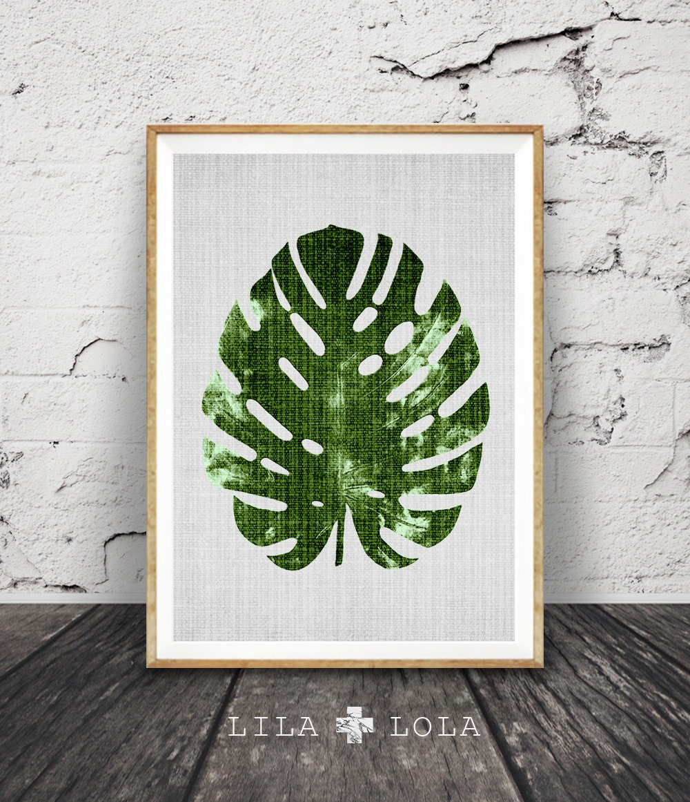 Monstera leaf print modern minimal botanical wall art large for Minimal art wall
