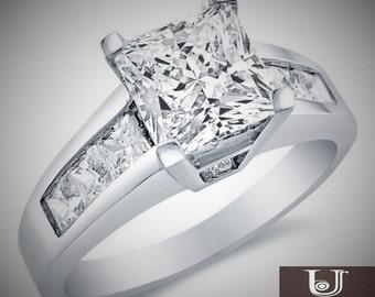 Princess Cut Solitaire Princess Cut 14k White Gold 2.00 CT Engagement Ring Band