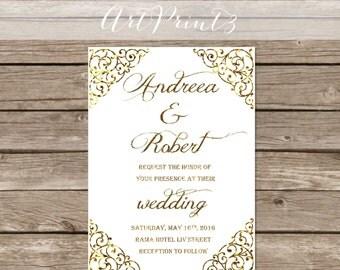 Gold Wedding Invitation Printable, Gold Wedding Invitation Printable, Gold Wedding Invite,Modern Wedding Invite,Vintage Invitation Printable