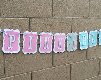 Gender Reveal Banner, Pink or Blue, Boy or Girl, baby banner