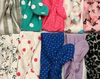 New homemade baby TIE KNOLT HEADBANDS! Soft cotton from 0-5 years old