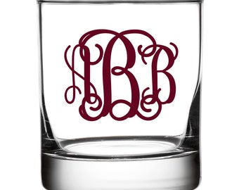 Monogrammed Old Fashioned Glasses - Traditional Design
