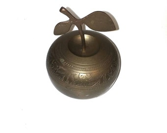 Vintage Brass Apple Trinket Holder