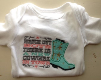 Baby Girl Onesie; Cowgirl Onesie; Country Bodysuit; New Cowgirl in Town