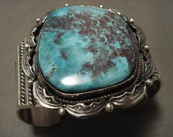 98 Grams Huge Navajo 'Blueberry Turquoise' Silver Bracelet