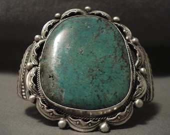 Gigantic Vintage Navajo Green Turquoise Silver Bracelet