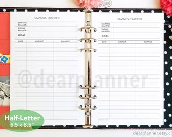 PRINTED Savings tracker - Savings planner insert - Monthly financial tracker - Finance planner insert - Half letter A5 insert - 19H