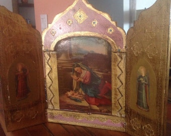 Vintage Triptych Religious Art, Religious Icon, Triptych With Mary and Infant Jesus