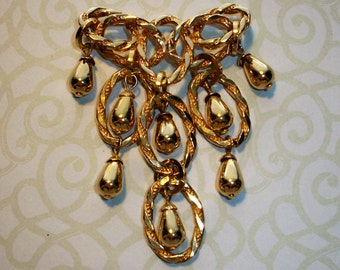 """Vintage Gold tone Dangle Brooch,Pin,3"""" by 2"""",statement piece,modern"""