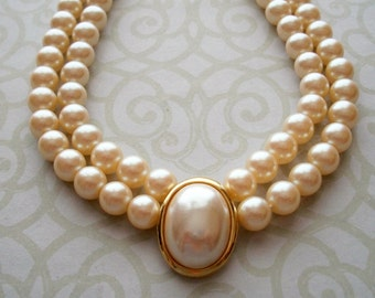 "Vintage LC Liz Claiborne Faux Pearl Choker Necklace,gold tone,signed,designer,adjustable,16"" to 19.5"",double strand,6mm,costume"