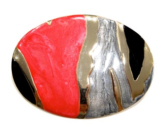 VINTAGE: 1980's - Sommai Enameled Gold Metal Buckle - Tropical Shell World INC - Elastic Belt Buckle - (19-A6-00006019)