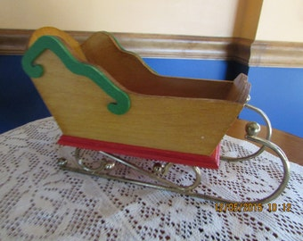 Vintage wooden holiday / christmas / SANTA CLAUS SLEIGH