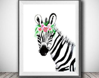 Zebra watercolor painting print, Zebra and flowers art, Animal art, illustration print, animal watercolor, animal portrait, Zebra painting