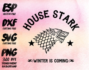 game of thrones House Stark Clipart , SVG Cutting , ESP Vectors files , T shirt , iron on , sticker ,Personal Use