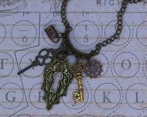 Steampunk Charm Necklace, Steampunk Dangle Necklace, Steampunk lock and key necklace