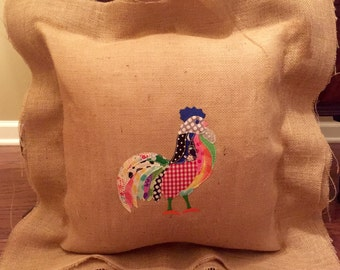 Burlap pillow with appliqued rooster