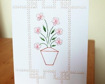 Hand stitched flower vase card, Floral greeting card, Pale pink flower card, Stitched Card