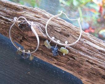 Handmade Hammered Sterling Silver, Iolite, and Prehnite Hoop Earrings