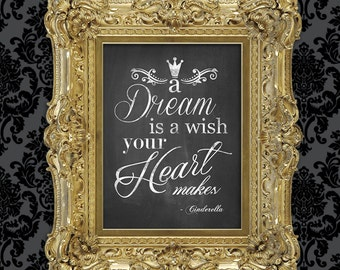 A Dream Is A Wish Your Heart Makes Disney Cinderella Song Quote - 8x10 Chalkboard Digital Download - Printable