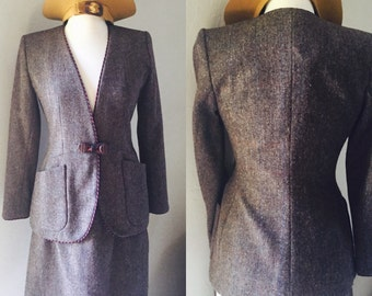 YSL Skirt Suit Size 38 EU Brown Wool Yves Saint Laurent early 1990s