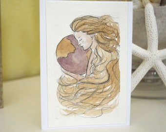 Watercolor greeting card - Mother Earth - handmade card, Earth day card