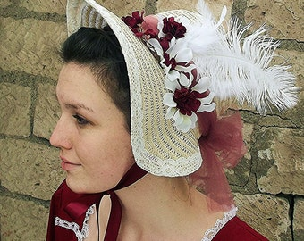 Regency style bonnet, sun hat with flowers